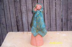 Standing Figure With Baby Ceramic Art