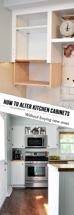 Line the back of your kitchen cabinets with fabric and thumbtacks ...