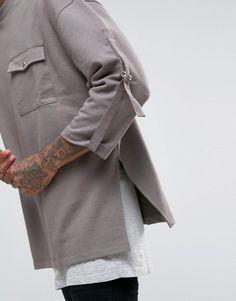 Image 3 of ASOS Oversized Longline Sweatshirt With Pocket And Taping