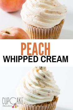 This amazing peach whipped cream is made with fresh peaches and heavy whipped cream! The peach flavor really comes through. It's a refreshing topping for any dessert or even when eaten all on its own! #Peach #WhippedCream Best Frosting Recipe, Frosting Recipes, Whipped Cream Frosting, Heavy Whipping Cream, Cupboards, Frostings, Peaches, Macarons, Baked Goods