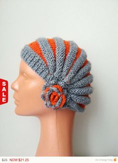 Sale   Grey Orange Knit Slouchy beanie Hat for men by NesrinArt