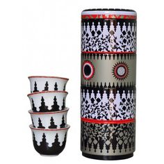 Images d'Orient Porcelain 4 Coffee Cups with Tin - Mosaic B&W - 60ml