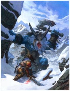 You are low on hit points. Better think of something fast. I know what I would do .....................RUN! Frost giant