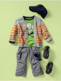 """stripes and a hat. boys' gap spring collection 2012 // we've shot this hat before, it looks amazing on baby and toddler boys. """"newsboy"""" style."""