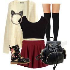 Cute Teen Outfits - Polyvore A fashion look from February 2015 featuring white cardigan, red skater skirt and floral Doc Martens. Browse and shop related looks. • fashion • teen style • cute clothes • outfits • sweater weather • autumn fall • outfit