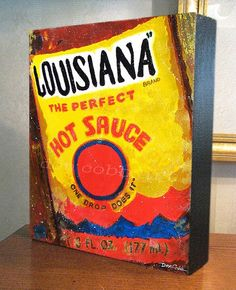 "Kitchen Decor ""Louisiana Hot Sauce"" Art 8x10x1.5"" Gallery Wrap Canvas Print"