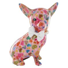 Pomme Pidou Chihuahua Animal Money Bank - Pink Hearts