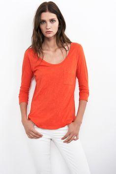 VELVET By Graham & Spencer Carella One Pocket 3/4 Sleeve Cotton Tee Red S $88 #VelvetbyGrahamSpencer #KnitTop #Casual