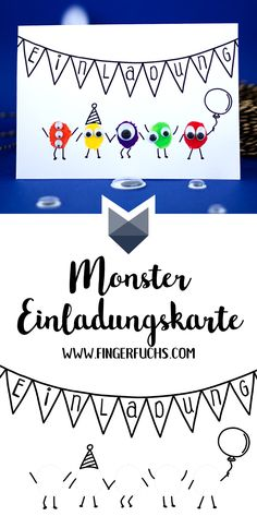 Make your own Monster birthday invitation card - DIY: Kindergeburtstag - Monster Birthday Invitations, Monster Birthday Parties, Monster Party, Funny Birthday Cards, Diy Birthday, Card Birthday, Make Your Own Monster, Fingerprint Cards, Christmas Cards To Make