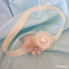 Ivory Satin Headband w/ White Flowers and Pearls, Newborn Headband, Baby Girl Headband, Toddler Headband, Baby Headband
