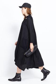 Y's by Yohji Yamamoto Mixed Media Shirtdress, Black 1,100.00  SALE $550.00