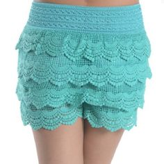 Turquoise Crochet Lace Shorts! Brand new shorts! Perfect condition.  They're just a tad too big for me :( Shorts
