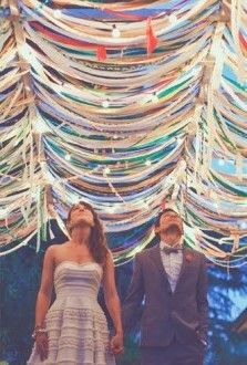 Ribbon canopy. Link has lots of creative ways to use ribbon for party decoration.