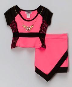 Loving this Neon Pink & Black Top & Skirt - Girls on #zulily! #zulilyfinds