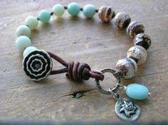 Knotted bracelet - Here Comes the Sun - Boho jewelry wrap artisan bronze, amazonite charm bracelet leather beach jewelry, bohemian, sky blue...