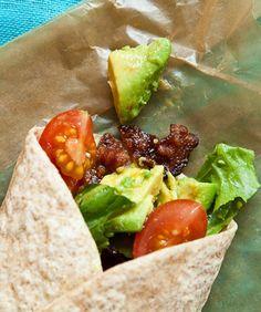 delicious sandwiches   BLTA Wraps with mashed avocado, lemon juice, crumbled bacon, chopped ...
