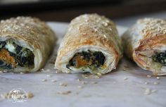 Roasted Pumpkin, Spinach, Feta & Ricotta Rolls | Finding Feasts