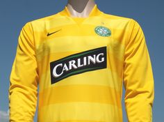 Celtic FC Home Yellow 2007-2008 Player Issue Carling Champions League Lisbon 40th Anniversary Shirt
