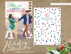 Christmas Card / Holiday Cards / Confetti Christmas / Bright Colors / Wishing you a bright holiday season