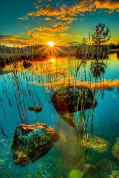 Sunset lake - beautiful nature