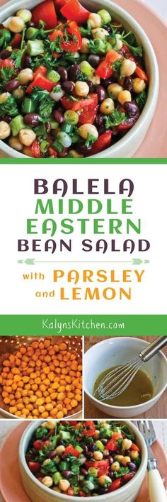 Balela Middle Eastern Bean Salad is delicious as a meatless main dish or a side dish; I love the fresh parsley in this vegan salad, and it's also gluten-free, dairy-free, and low-glycemic! [found on KalynsKitchen.com]