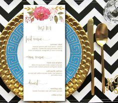 Wedding Menu Printable Garden - table menu card CUSTOMIZED dinner party menu printable, rustic garden wedding, spring summer wedding
