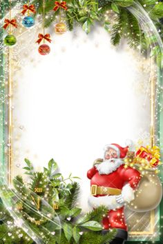 Santa and trees Christmas Frames Free, Xmas Frames, Christmas Border, Christmas Flyer, Christmas Cards To Make, Christmas Clipart, Christmas Background, Christmas Pictures, All Things Christmas