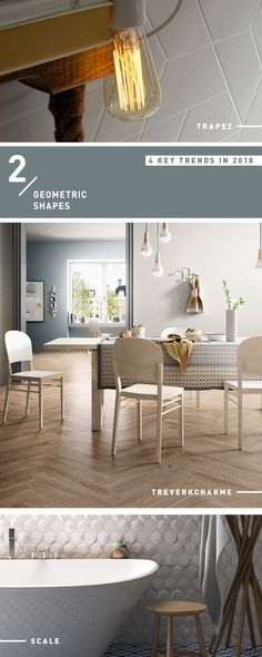 Interior Design 2018 Trend: Geometric Shapes #tiles #geometric 2018 Interior Design Trends, Geometric Shapes, Tiles, Dining Table, Furniture, Home Decor, Room Tiles, Decoration Home, Dimensional Shapes
