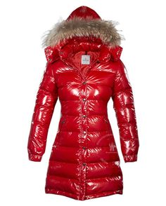 Cheap Down Red Fur Cap And Slash Long Warm Women Coats Outlet -Moncler Jackets