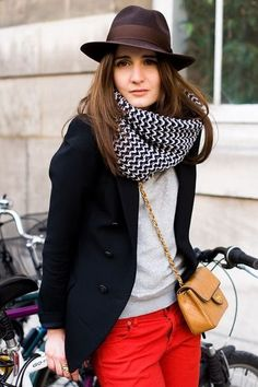 A navy blazer and red skinny jeans are perfect for both running errands and a night out.  Shop this look for $83:  http://lookastic.com/women/looks/hat-scarf-crew-neck-sweater-blazer-crossbody-bag-skinny-jeans/4507  — Dark Brown Wool Hat  — Black and White Scarf  — Grey Crew-neck Sweater  — Navy Blazer  — Brown Quilted Leather Crossbody Bag  — Red Skinny Jeans