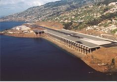 Extreme Airports:  Madeira Airport at Funchal, Madeira Island, Portugal improved its runway by extending it with concrete pillars in 2000.  The innovative solution allowed the airport to win the 2004 IABSE Outstanding Structure Award.
