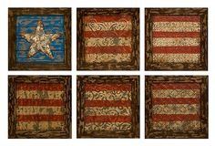 One Kings Lane - Rustic Accents - S/6 American Flag Wall Decor