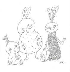 A rare portrait of Little Onion, Orange Guy, Baby Eggplant, and Turnip Girl