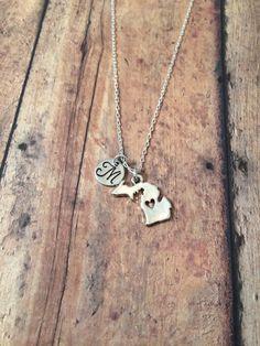 Michigan initial necklace - Michigan jewelry, state jewelry, US state necklace, state necklace, Michigan pendant, silver Michigan necklace by kimsjewelry on Etsy https://www.etsy.com/listing/185253782/michigan-initial-necklace-michigan