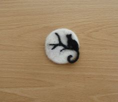 "Handmade needle felted brooch. Lady M "" Midnight Moon "" by Louise"