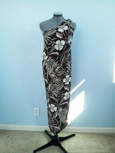 "Hawaiian Polynesian Floral Print Brown Polyester Silky Dress Fabric 1 Yard 60"""