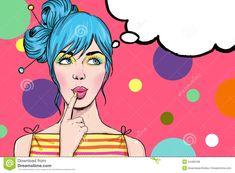 Pop Art girl with the speech bubble. Pop Art illustration of gir , Art And Illustration, Comic Kunst, Comic Art, Desenho Pop Art, Pop Art Women, Pop Art Girl, Stock Foto, Comics Girls, Art Graphique