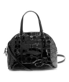 Loving this Black Peyton C-Embossed Cora Domed Leather Satchel on #zulily! #zulilyfinds