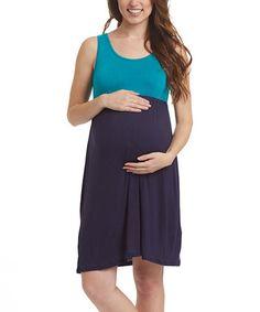 Love this Aqua & Navy Color Block Maternity Sleeveless Dress on #zulily! #zulilyfinds