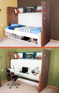 Cama con escritorio University Small Room Bedroom, Entryway, Minimalist, Bed Ideas, Furniture, Tables, Home Decor, Closet, Bed With Desk