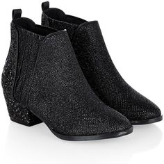 Monsoon Black 'Sparkle' chelsea ankle boot shoes (335 NOK) ❤ liked on Polyvore featuring shoes, sparkly flat shoes, black ballet shoes, black skimmer, flat ballet pumps and ballerina pumps