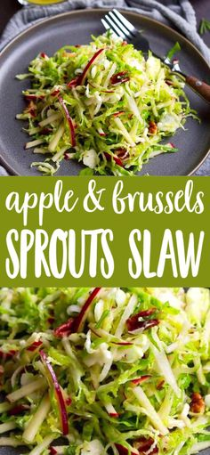 Apple & Brussels Sprouts Slaw The ultimate fall salad! This Apple and Brussels Sprouts Slaw is a breeze to make, and is packed with nutty, sweet and savory flavors. 88 calories and 2 Weight Watchers SP Brussels Sprouts Slaw Recipe, Sprouts Salad, Healthy Brussel Sprout Recipes, Brussels Recipe, Shredded Brussel Sprout Salad, Healthy Food Blogs, Easy Healthy Recipes, Raw Food Recipes, Salads