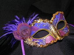 Shades of Purple and Gold Masquerade Mask!