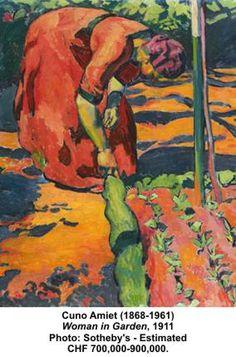 Frau im Garten (Woman in Garden) painted in 1911 by Cuno Amiet (1868-1961).