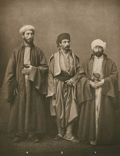 Muslim teacher (hoca) of Salonica; chief Rabbi of Salonica; bourgeois from Monastir (Bitola). from the province of Salonica, Ottoman Empire Pascal Sabah Ottoman Empire bestpicturesof Middle Eastern Clothing, Arabian Nights Party, Historical Images, Thessaloniki, Ottoman Empire, Old Photos, Character Design, Chief Rabbi, Costumes