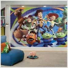 Fantastic extra large pre-pasted Toy Story 3 wall mural for kids rooms is printed in bold, vivid colors. Extra large Toy Story 3 wall mural features all kids favorite Toy Story characters - Buzz, Woody, Jessie for Toy Story 3 kids room walls makeover. Toy Story 3, Home Depot, Desenho Toy Story, Toy Story Bedroom, Wall Appliques, Festa Toy Story, Disney Rooms, Disney Themed Bedrooms, Disney House