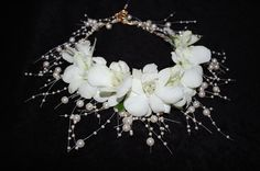# Arteflora Design;# floral jewelry #bridal necklace- Orchid omega...the perfect necklace for the strapless wedding dress