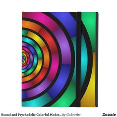 Round and Psychedelic Colorful Modern Fractal Art iPad Cover