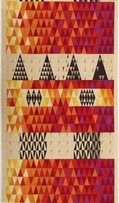 Textile: Pythagoras, designed by Sven Markelius, printed by Ljungbergs Textiltryck AB, Sweden, 1953, printed linen.