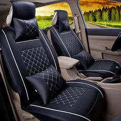 LucaSng Leather Seat Covers Universal Car Seat Mat Covers Set Elastic Sponge Inside Front Black and white ** Visit the image link more details. (This is an affiliate link and I receive a commission for the sales)